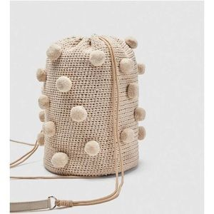 Fabric Backpack with Pompoms